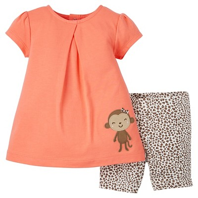 Just One You™Made by Carter's® Newborn Girls' 2 Piece Biker Short Set - Peach/Animal 3M