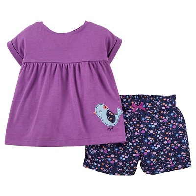 Just One You™Made by Carter's® Newborn Girls' 2 Piece Short Set - Purple/Blue 12M