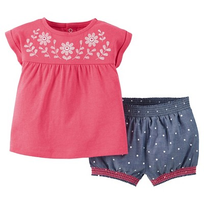 Just One You™Made by Carter's® Newborn Girls' 2 Piece Short Set - Pink/Chambray 3M