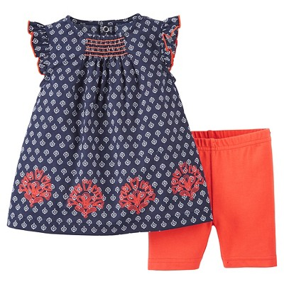Just One You™Made by Carter's® Newborn Girls' 2 Piece Biker Short Set - Navy/Orange 9M