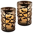Metal Lanterns with Battery Operated LED Candles- Round Warm Black Vine- Set of 2