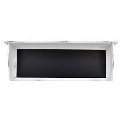 "White Wood Wall Shelf with Chalkboard -26""x9"""