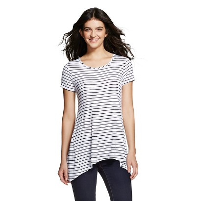 Women's  Striped Drapey Tee - Mossimo Supply Co. (Junior's) - White/Black