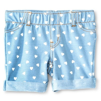 Baby Girls' Hearts Bermuda Jegging Short Blue 18M - Circo™