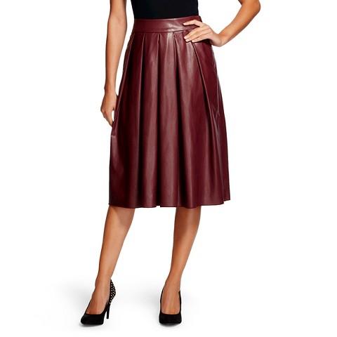 s vegan leather pleated midi skirt burgund target