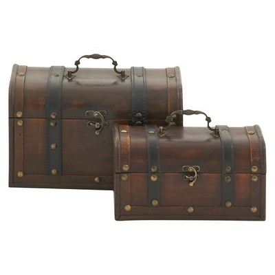 Vintage Themed set of 2 Leather Wood Box