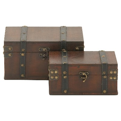 "Vintage Appeal Wood Leather Box set of 2 (11""x9"")"