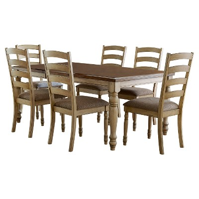 7 Piece Olinville Extendable Dining Set Wood/Cream - Inspire Q