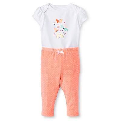 Cherokee® Baby Girls' Bodysuit Top & Ruffle Legging Set - White/Moxie Peach 0-3 M
