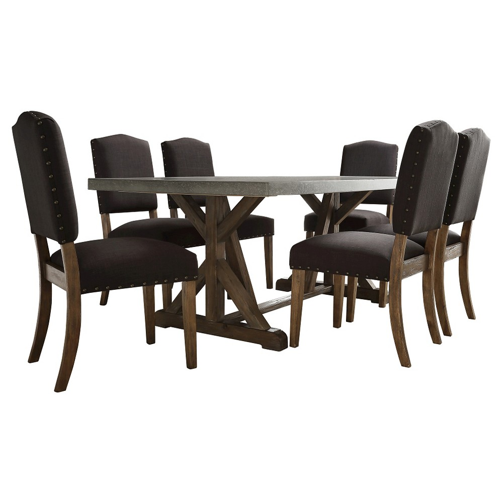 Dining table set sullivan 7 piece concrete topped dining set - Sullivans wholesale home decor set ...