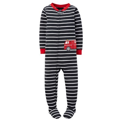 Just One You™ Made by Carter's® Baby Boys' Firetruck Stripe Footed Pajama Black/White 18M