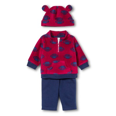 Gerber® Baby Boys' 3-Piece Football Microfleece Top, Pant & Cap Set - Red/Navy 0-3 M