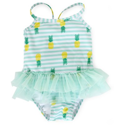 Baby Girls' Pineapple Tutu 1-Piece Swimsuit Blue 6-9 M - Circo™