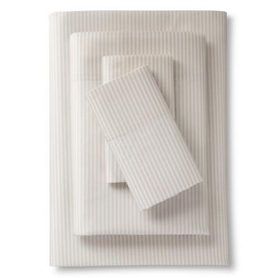 Percale Stripe Sheet Set Brown (King) - Threshold™