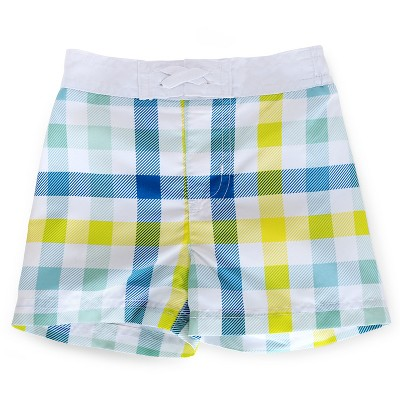 Baby Boys' Plaid Swim Trunk Yellow/Blue/White 6-9M - Circo™