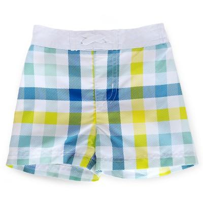 Baby Boys' Plaid Swim Trunk Yellow/Blue/White 6-9M - Circo™
