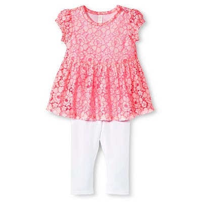 Baby Girls' Lace Peplum Bodysuit and Legging Set Primo Pink/White 6-9 M - Cherokee®