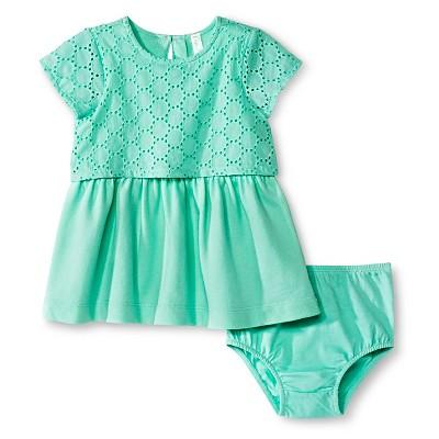 Cherokee® Baby Girls' Eyelet Dress - Aqua Float NB