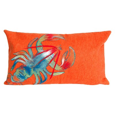 "Lobster Throw Indoor/Outdoor Pillow Orange (12""x20"") - Liora Manne"