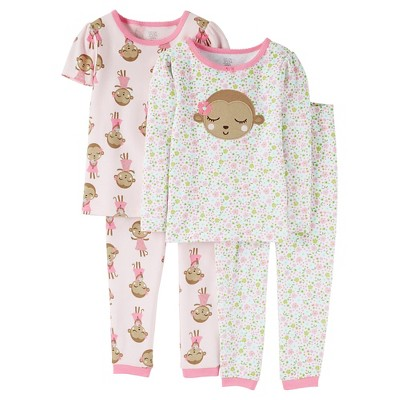 Infant Girls' 4 Piece Cotton Pajama Sets- Pink 12M