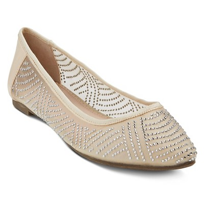 Women's Reegan Illusion Mesh Embellished Flats - Champagne 8
