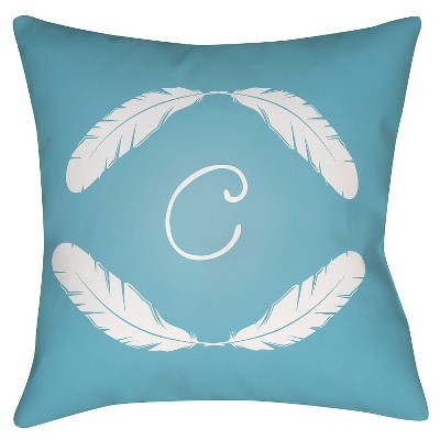 "Quill Monogram C - Blue Throw Pillow - Blue - 16"" x 16"" - Surya"