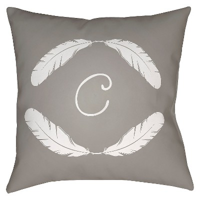 "Quill Monogram C - Grey Throw Pillow - Grey - 16"" x 16"" - Surya"