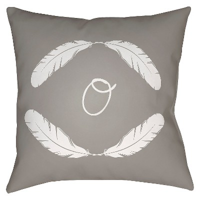 "Quill Monogram O - Grey Throw Pillow - Grey - 16"" x 16"" - Surya"