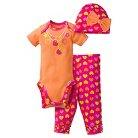 Gerber® Newborn Girls' 3 Piece Necklace Bodysuit, Legging & Cap Set - NB Orange