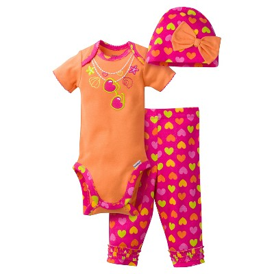 Gerber® Newborn Girls' 3 Piece Necklace Bodysuit, Legging & Cap Set - 12M Orange