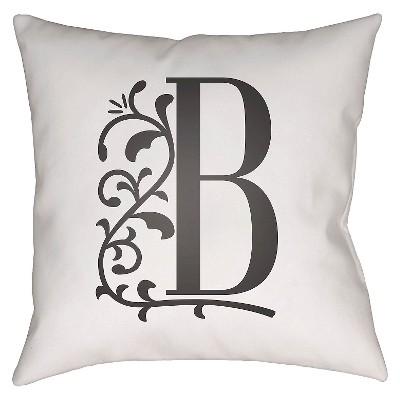"""Story Book Monogram B Throw Pillow - White - 16"""" x 16"""" - Surya"""