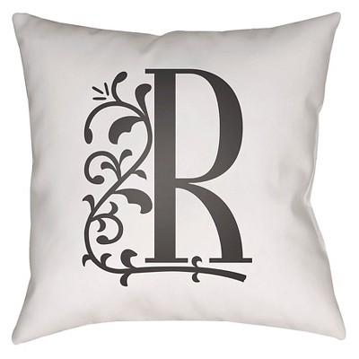 "Story Book Monogram R Throw Pillow - White - 16"" x 16"" - Surya"