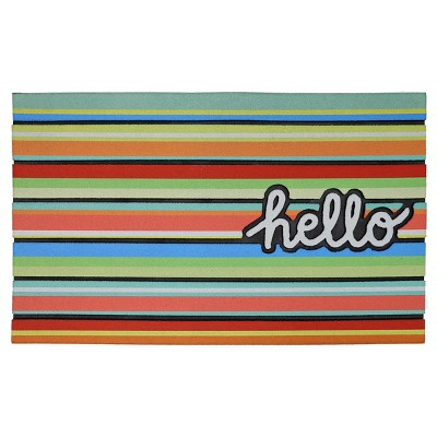 "Rubber Doormat Hello Stripe 18""x30"""
