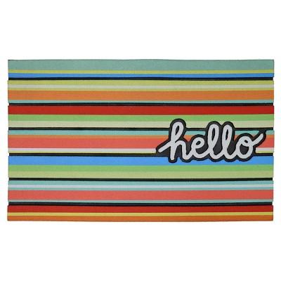 Rubber Doormat Hello Stripe 18 x30