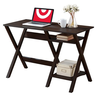Folio Desk with Two Lower Shelves Modern Wenge - CorLiving