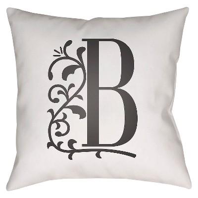 """Story Book Monogram B Throw Pillow - White - 20"""" x 20"""" - Surya"""