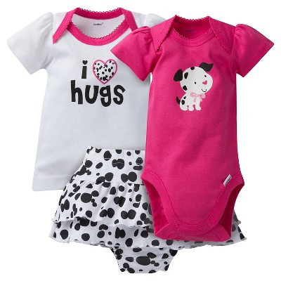 Gerber® Newborn Girls' 3 Piece Dalmation Bodysuit, Shirt & Skort Set - 0-3M White/Pink