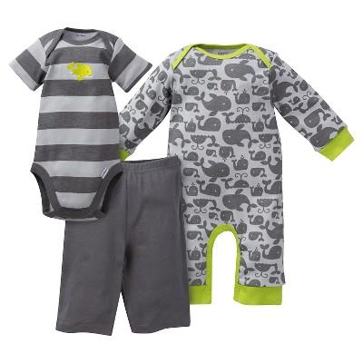 Gerber® Newborn Boys' Whale 3 Piece Coverall, Bodysuit & Pant Set - 3-6M Gray/Stripe