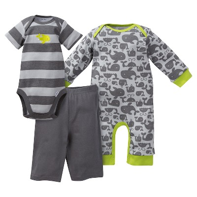 Gerber® Newborn Boys' Whale 3 Piece Coverall, Bodysuit & Pant Set - 6-9M Gray/Stripe