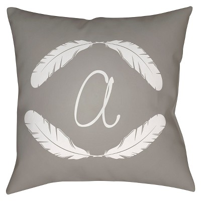 "Quill Monogram A - Grey Throw Pillow - Grey - 20"" x 20"" - Surya"