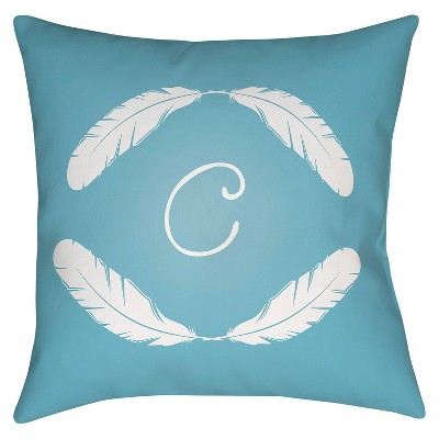 "Quill Monogram C - Blue Throw Pillow - Blue - 18"" x 18"" - Surya"