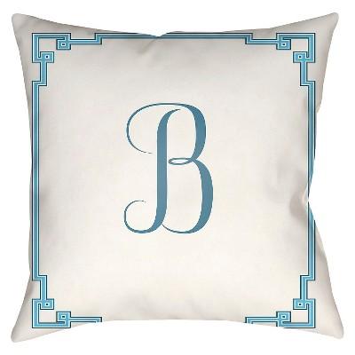 "Something Monogram B Throw Pillow - White - 18"" x 18"" - Surya"