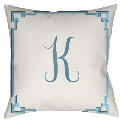 "Something Monogram K Throw Pillow - White - 18"" x 18"" - Surya"