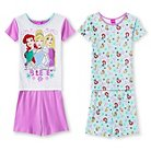 Disney Princess Girls' 4-Piece Pajama Set - Multicolored