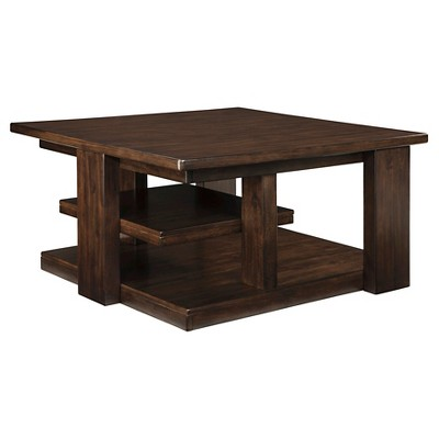 Garletti Square Cocktail Table Dark Brown - Ashley Furniture