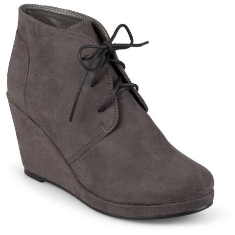 s journee collection faux suede wedge booties target