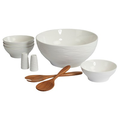 CreativeWare Wine & Dine 9 Pc Salad Serving Set - White