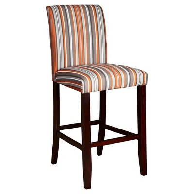"Striped 29.5"" Barstool Wood/Orange/Gray - Powell Company"