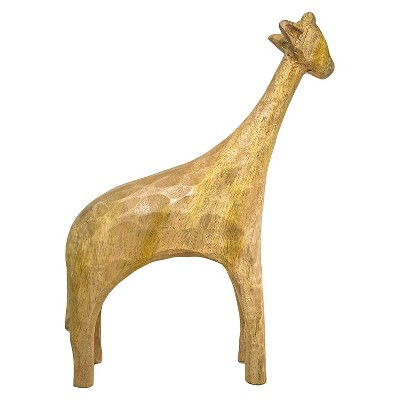 Decorative Figurine Threshold Tan Wood Safari