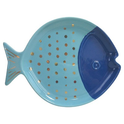 Stoneware Fish Plate Blue - Threshold™